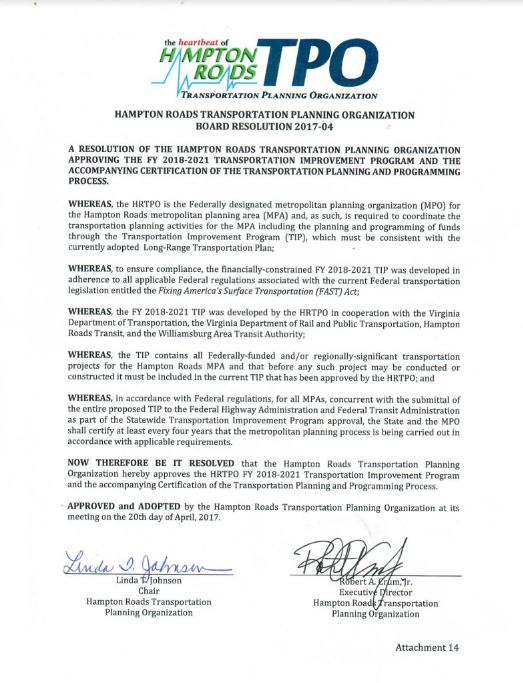 Image of the HRTPO Board Resolution 2017-04